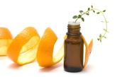 Essential oil with orange peel